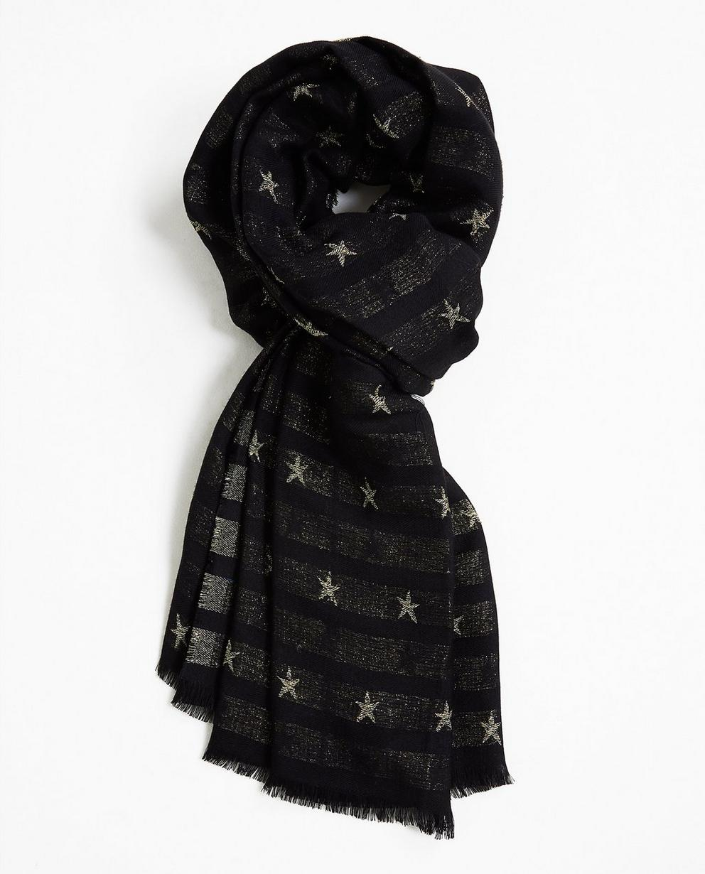 Sjaal met sterrenprint - in zwart - JBC